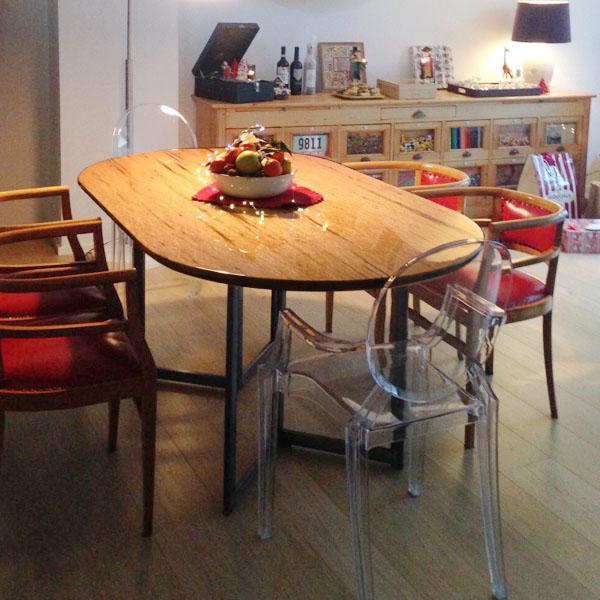 tavolo ovale vetrificato
