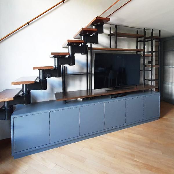 libreria porta tv- laccata_ferro_legno 4
