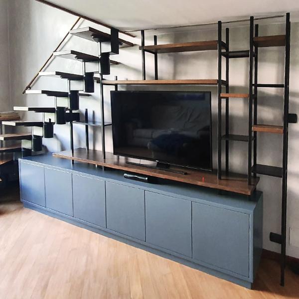 libreria porta tv- laccata_ferro_legno 3